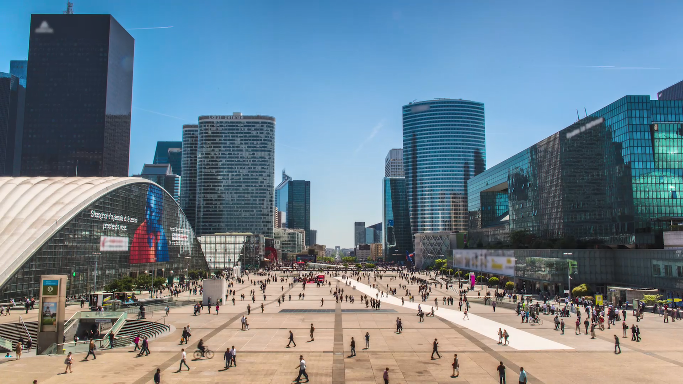 panoramic photo of a busy city square